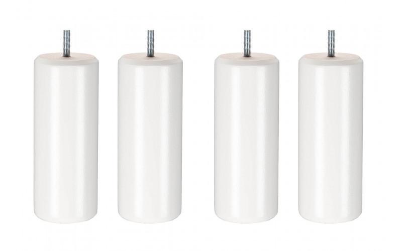 Pied Bois cylindre blanc 17 cm
