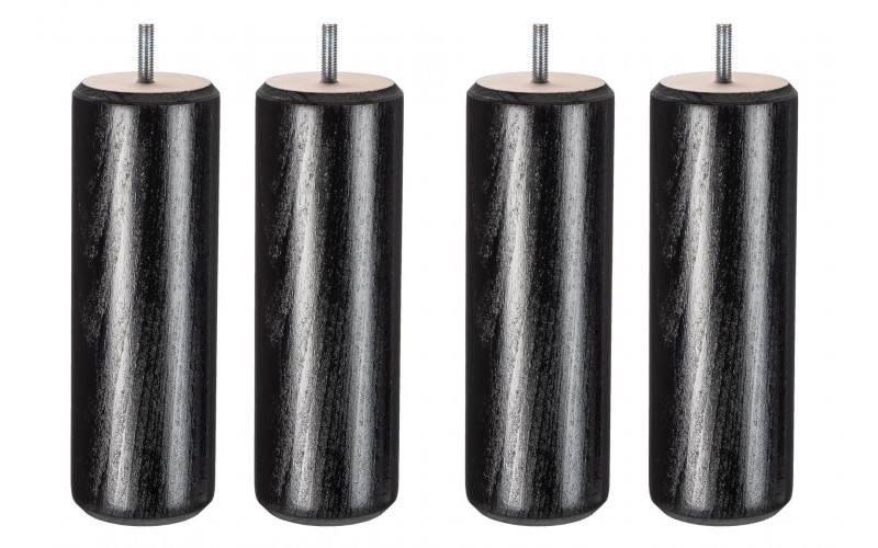 Pied Bois cylindre noir 20 cm