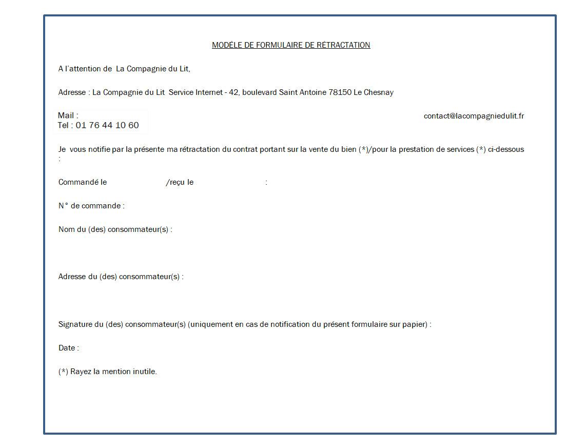 Conditions Générales de Vente site internet de La Compagnie du Lit
