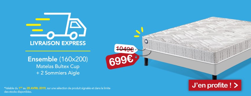 Pack matelas cup 100 + sommier Aigle