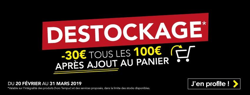 Pendant notre déstockage, profitez de 30€ de réduction tous les 100€ d'achat. Réduction visible dans votre panier.